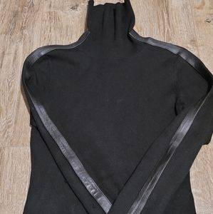 INC PETITE P black turtleneck sweater wit leather
